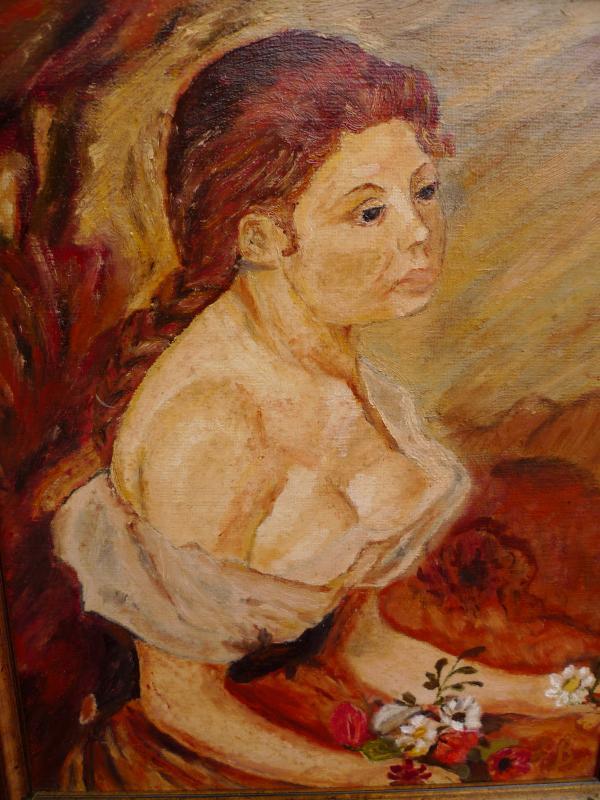sch nes altes gem lde portrait einer dame sign l b. Black Bedroom Furniture Sets. Home Design Ideas