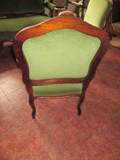 tolle antike sitzgruppe um 1900 sofa 2 st hle armlehnsessel mahagoni bezug gr n ebay. Black Bedroom Furniture Sets. Home Design Ideas