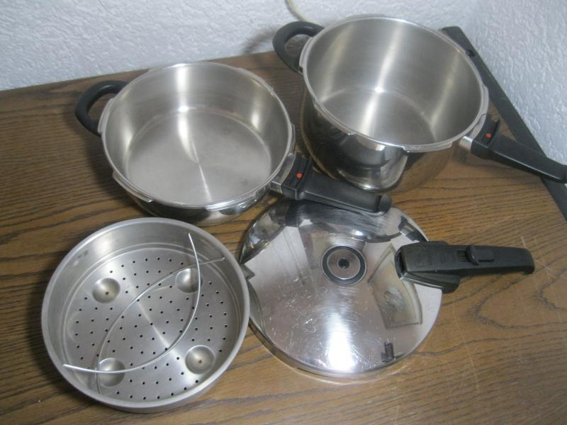 fissler schnellkochtopf set vitavit flach 2 5 l hoch 4 5 l einsatz deckel ebay. Black Bedroom Furniture Sets. Home Design Ideas