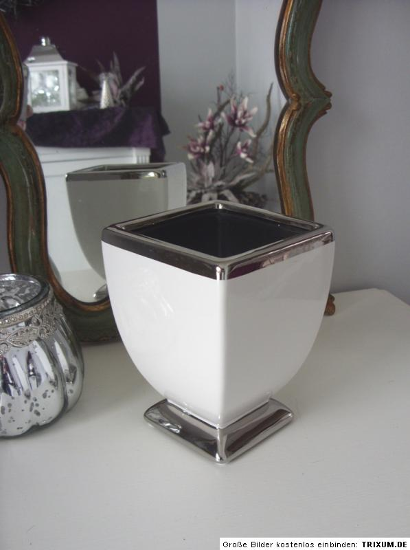 vase tischvase blumenvase pflanzgef gef keramik wei silber 15 cm hoch ebay. Black Bedroom Furniture Sets. Home Design Ideas