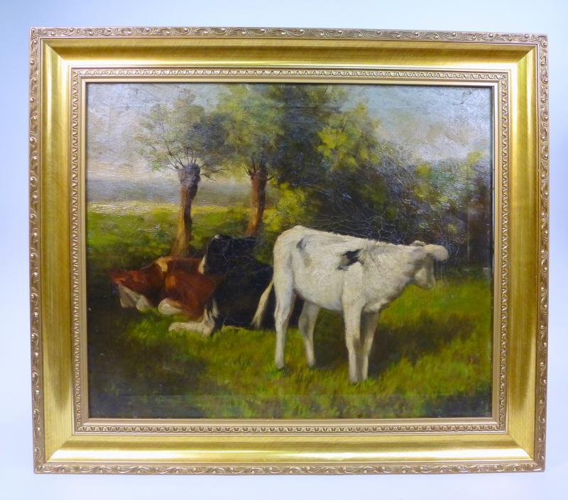 Cuadro de vacas en el campo firmado ebay - Cuadros de vacas ...