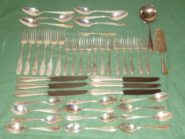 altes silberbesteck 45 teile 800er silber besteck essbesteck silver 1850 gramm ebay. Black Bedroom Furniture Sets. Home Design Ideas