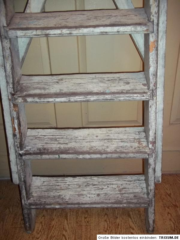 alte holzleiter leiter 9 stufen 150cm shabby chic ebay. Black Bedroom Furniture Sets. Home Design Ideas