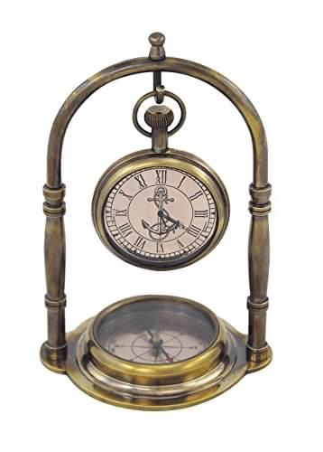 dekorativer kompass messing im antikdesign kein polieren mit uhr ebay. Black Bedroom Furniture Sets. Home Design Ideas