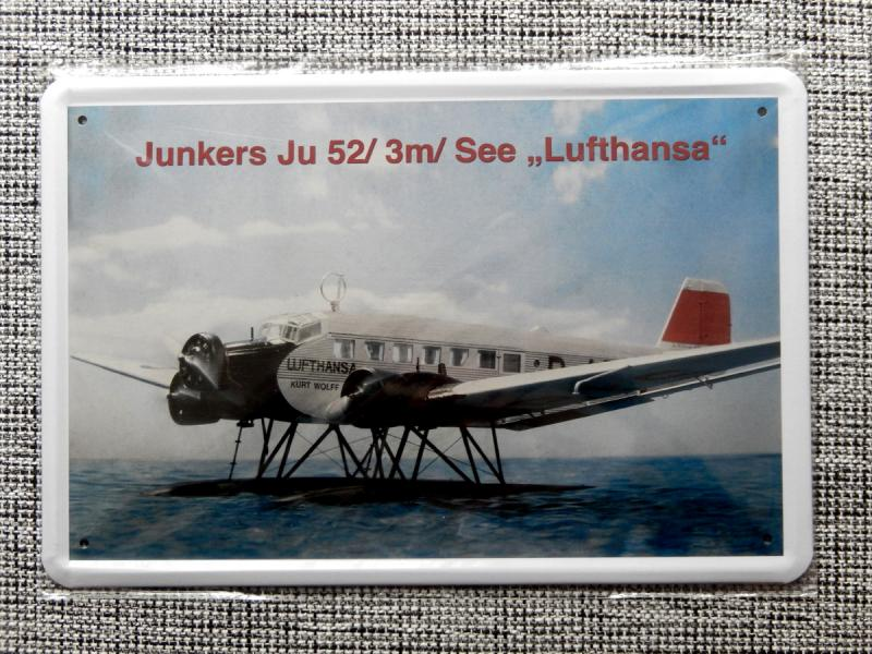 blechschild 20 x 30 junkers ju 52 deutsches flugzeug. Black Bedroom Furniture Sets. Home Design Ideas