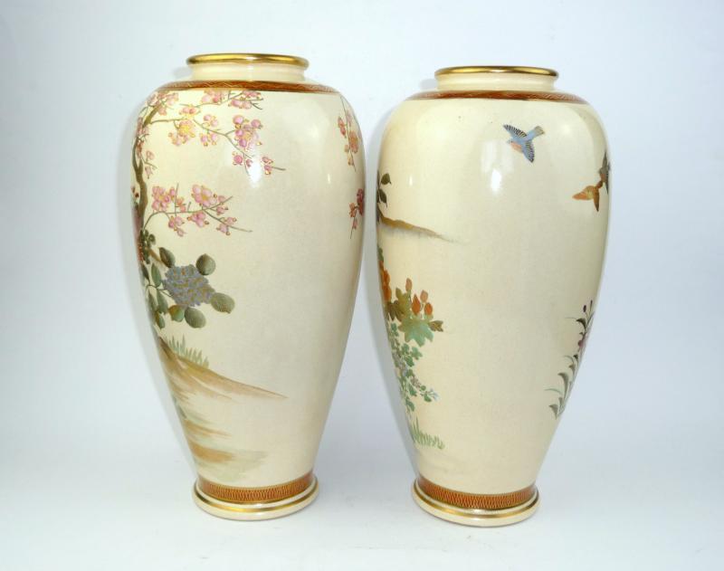 deux grand satsuma vases japon 1920 vase de sol vase ebay. Black Bedroom Furniture Sets. Home Design Ideas