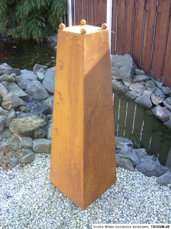 edelrost stele s ule skulptur pflanzs ule mit schale 133 cm garten eisen rost ebay. Black Bedroom Furniture Sets. Home Design Ideas