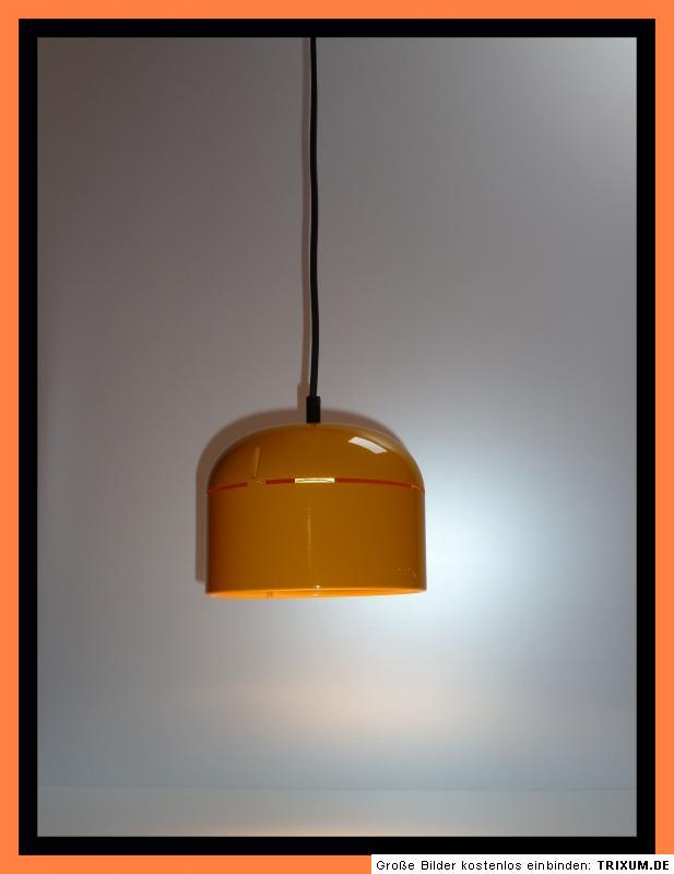 70s staff pendelleuchte orange reflektorlampe orange 70er pendant light ebay. Black Bedroom Furniture Sets. Home Design Ideas