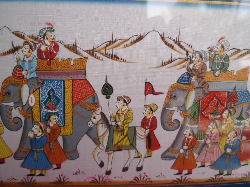 sehr sch nes altes bild indischer umzug mit elefanten. Black Bedroom Furniture Sets. Home Design Ideas