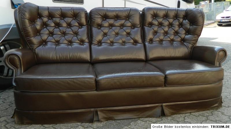 Sitzgarnitur sofa 3 sitzer sessel ohrensessel leder for Ohrensessel 2 sitzer
