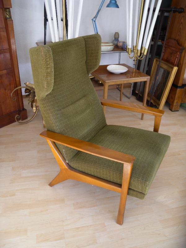 60er sessel lounge sessel ohrensessel mit fu ablage relaxsessel fernsehsessel. Black Bedroom Furniture Sets. Home Design Ideas