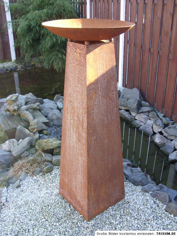 edelrost stele s ule skulptur pflanzs ule mit schale 133 cm garten eisen rost. Black Bedroom Furniture Sets. Home Design Ideas
