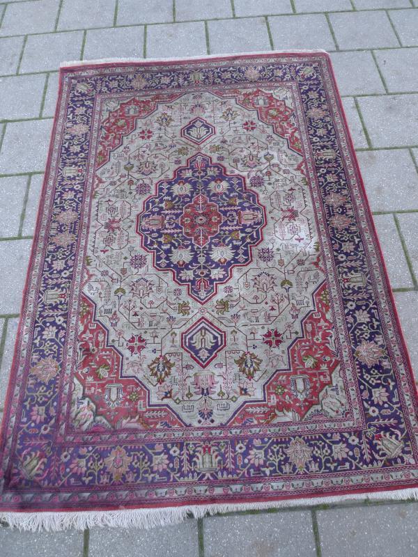 Belle Vieux Tapis De Soie A Motifs Oriental 146cm X 102cm Ebay