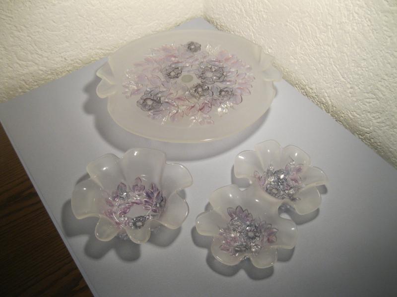 mikasa walther glas tortenplatte mit fu glasschale bl tenform doppelschale ebay. Black Bedroom Furniture Sets. Home Design Ideas
