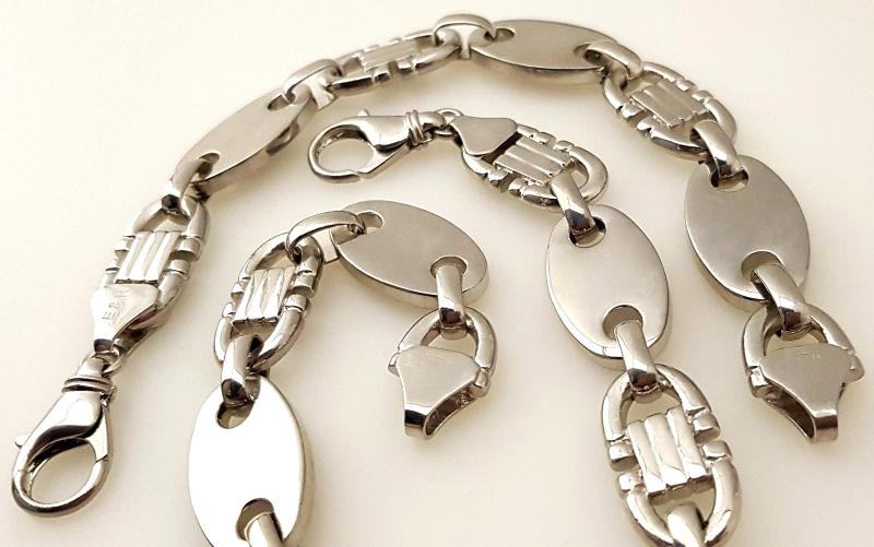 925 Silber Steigbügelkette Armreif Armband Armkette Panzerkette Plattenkette