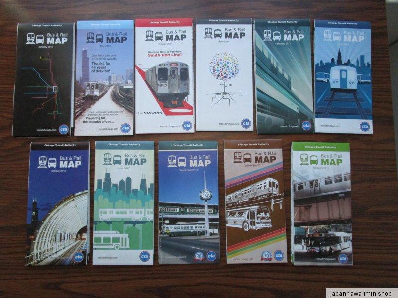 Cta Subway Map Chicago.Details About 11 Maps Chicago Usa Bus Rail Train Map Cta Subway Carte Metro U Bahn Karte Mapa