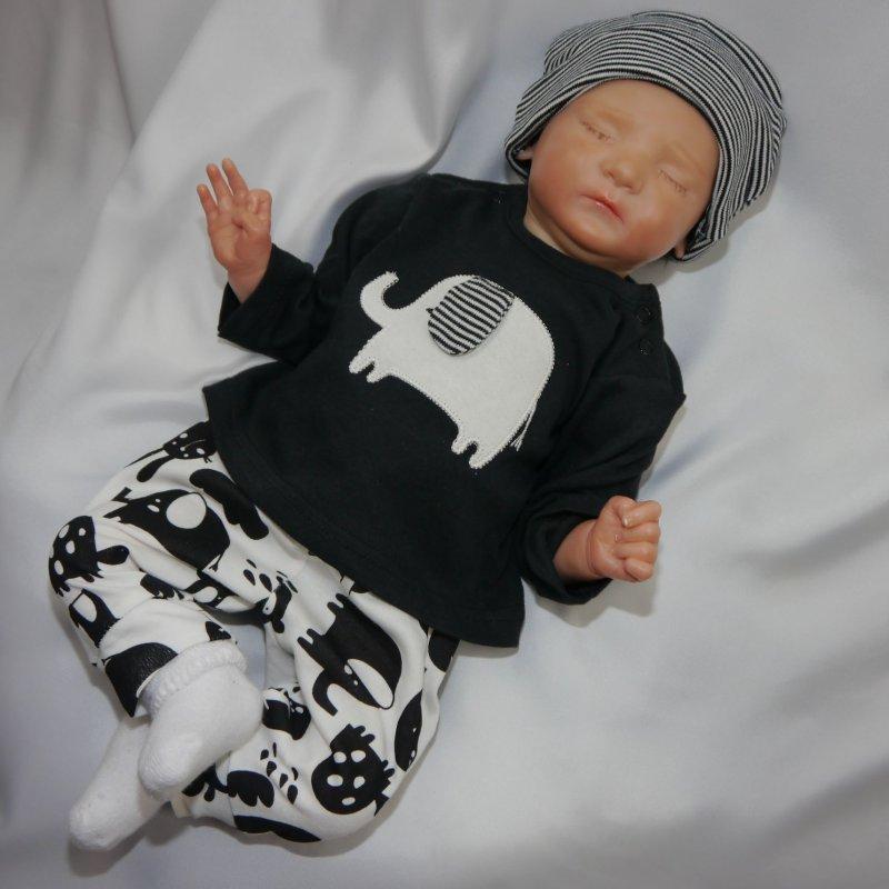 NEU Baby Jungen Set 2-teilig Pullover mit Kapuze Hose Outfit Gr 62 68 74 80