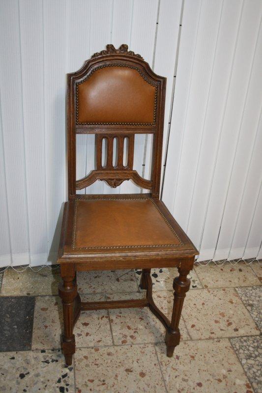 6 antike jugendstil st hle stuhl massiv eiche polster lederoptik um1900 605 ebay. Black Bedroom Furniture Sets. Home Design Ideas