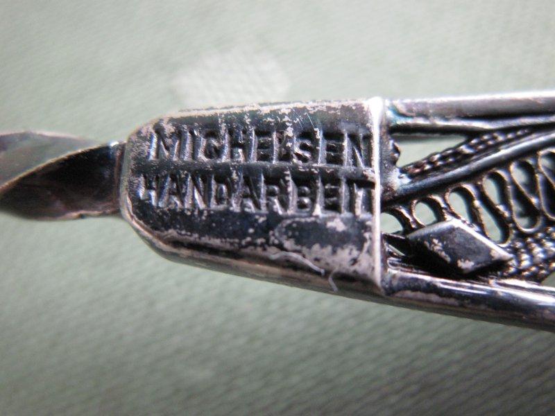 Schöne 835er Silber Michelsen Handarbeit Kuchengabel mit rotem Stein