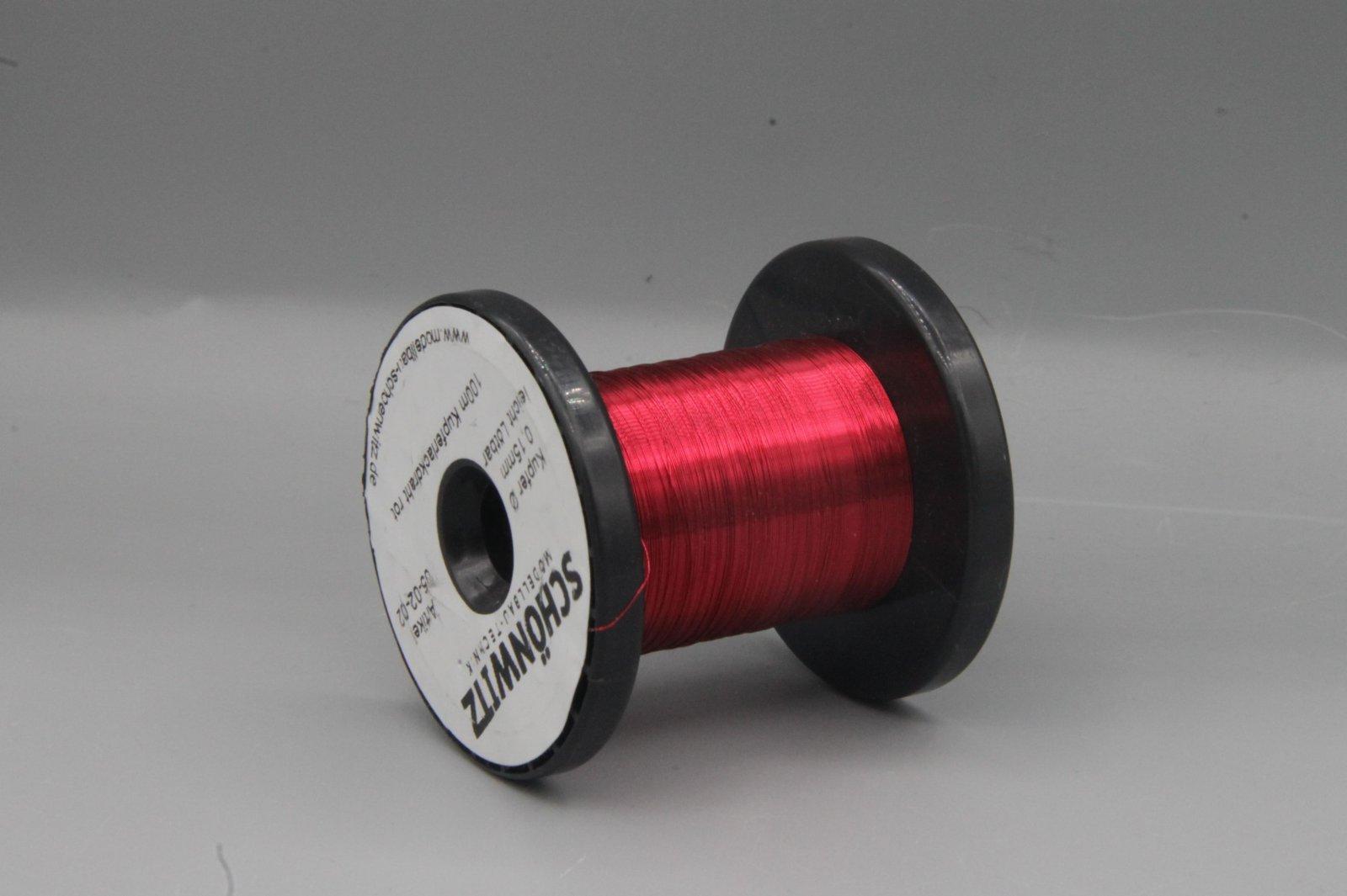 100 m Kupferlackdraht rot 0,15 mm Lackdraht Cu-Draht auf 50m-Spule
