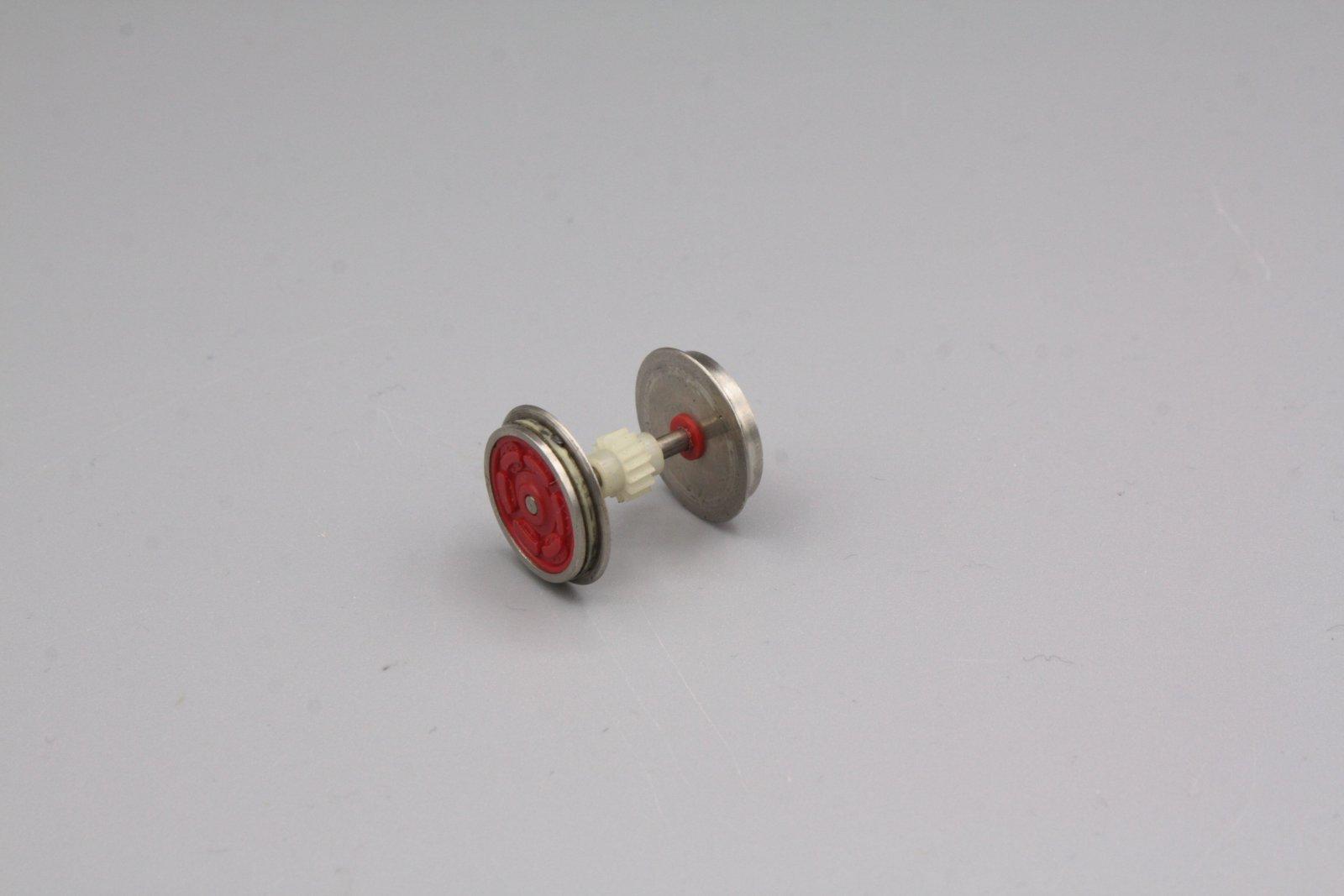 Ersatzteil Roco 140 u.a Radsatz rot mit schrägverzahntem Zahnrad m.1 Haftreifen