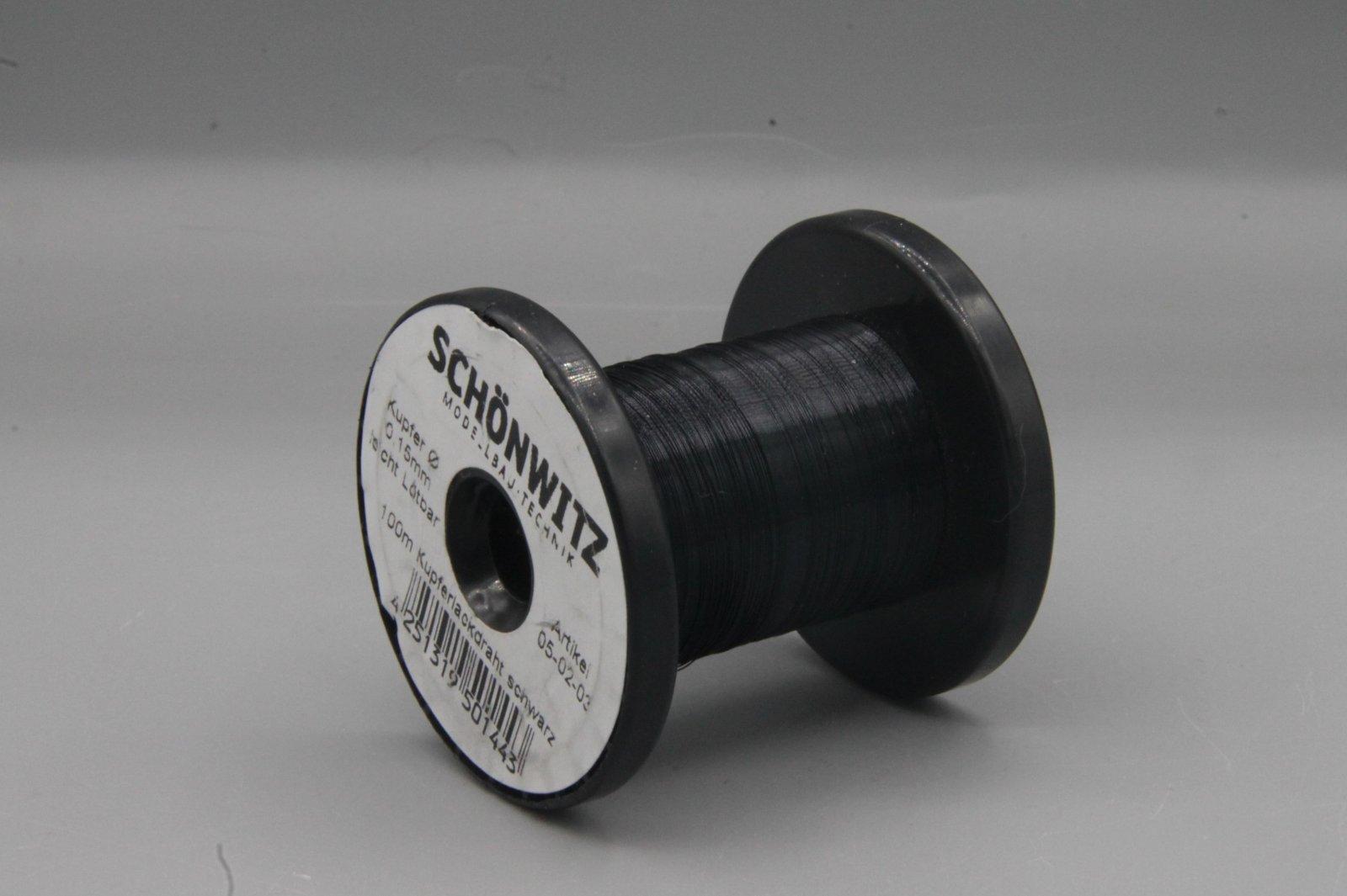 100 m Kupferlackdraht schwarz 0,15 mm Lackdraht Cu-Draht auf 50m-Spule