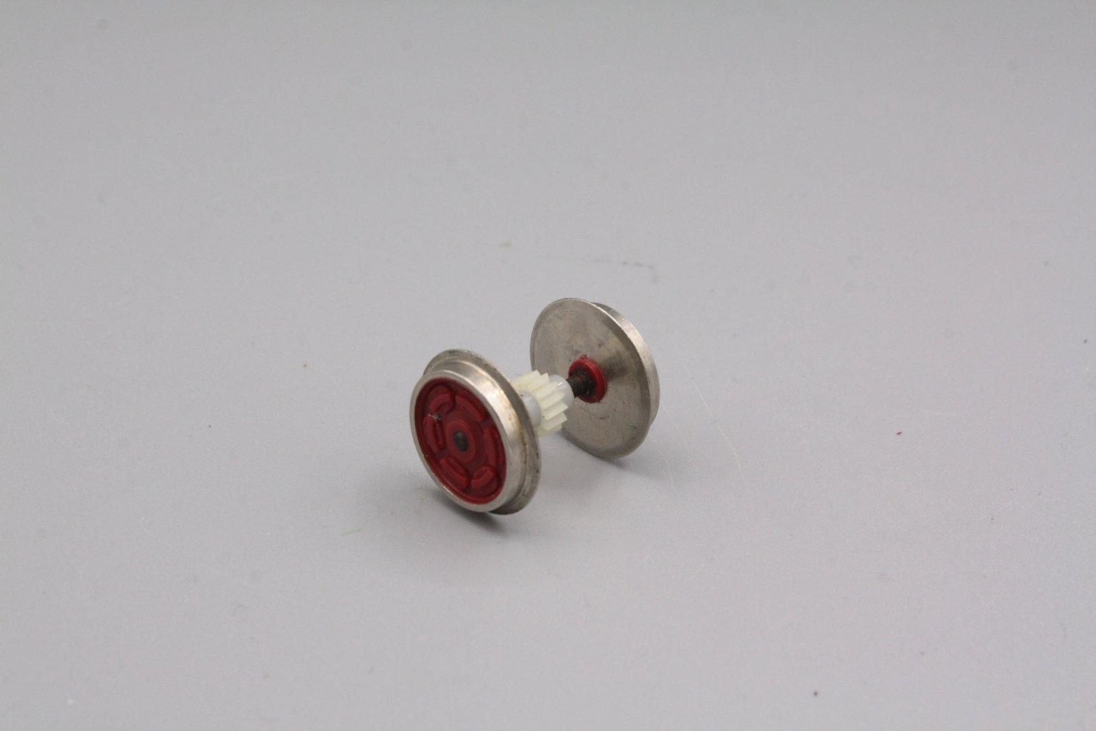 Ersatzteil Roco 140 u.a Radsatz rot mit schrügverzahntem Zahnrad ohne Haftreife