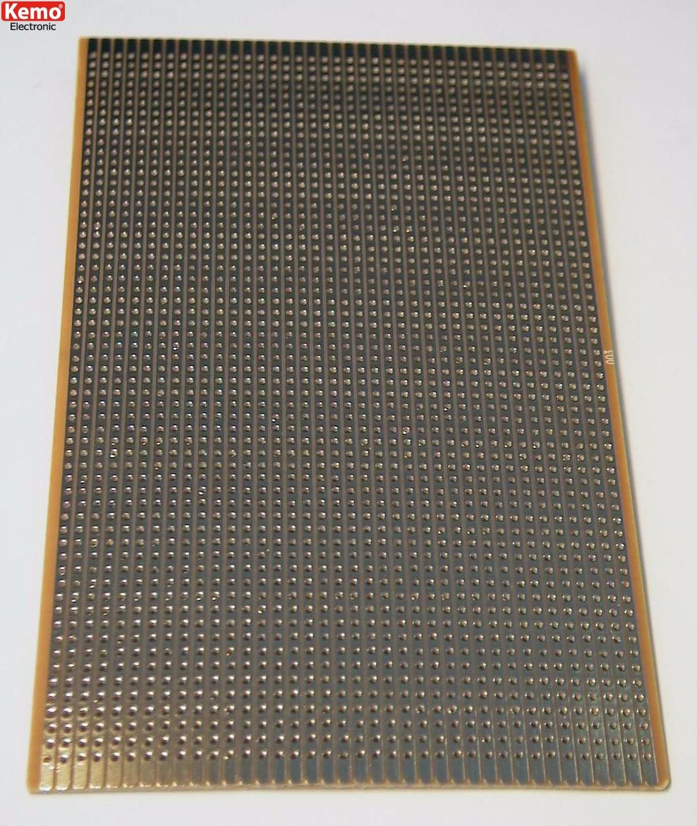 Experimentierplatine 160x100 mm -  Streifenraster Platine flash-vergoldet