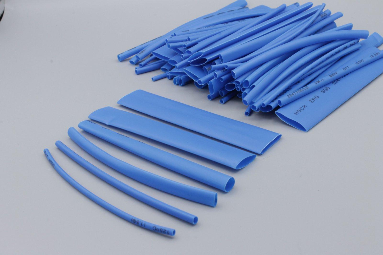 Schrumpfschlauch-Sortiment, 100-tlg Set lose -blau- Schrumpfschläuche Set-Tüte