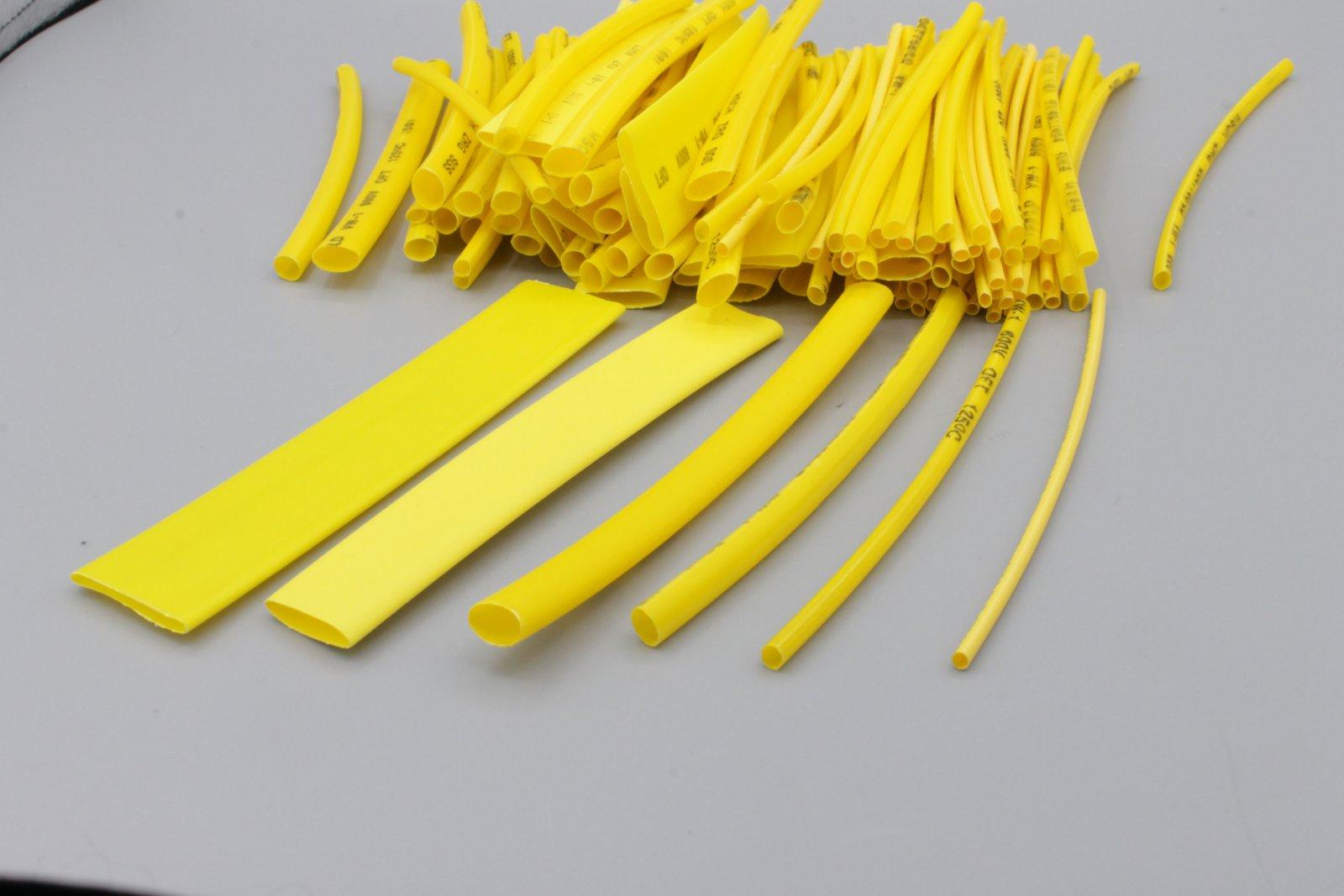 Schrumpfschlauch-Sortiment, 100-tlg Set lose -gelb Schrumpfschläuche Set-Tüte