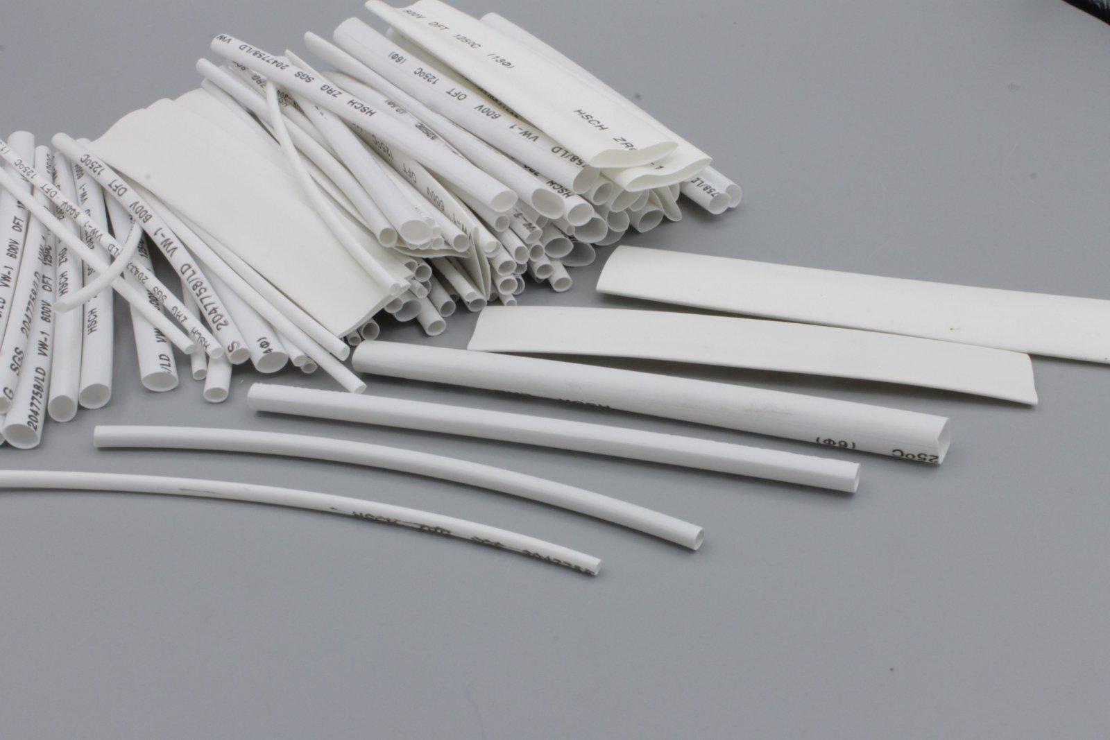 Schrumpfschlauch-Sortiment, 100-tlg Set lose - weiß - Schrumpfschläuche Set-Tüte