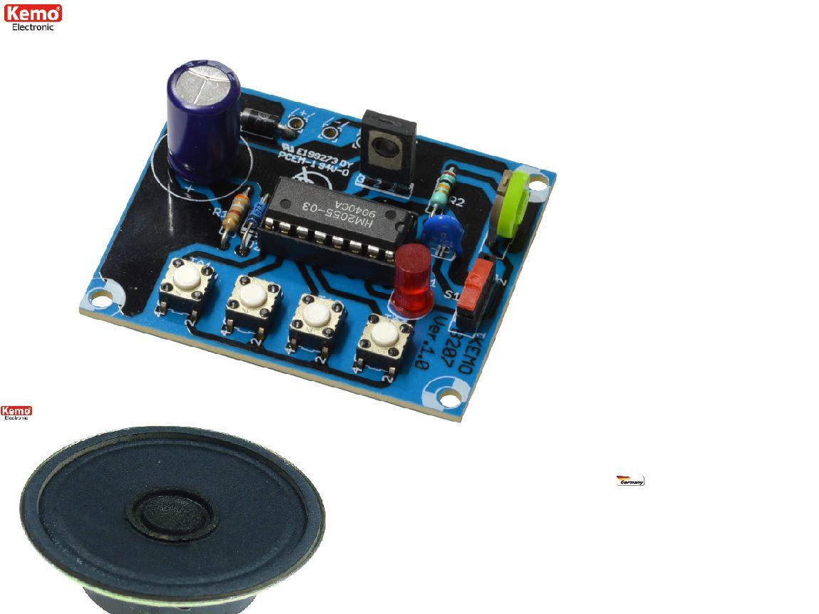 KEMO B207 Dampflokgeräusch mit Glocke + Pfeife inkl. Lautsprecher 8 Ohm 0,25 W