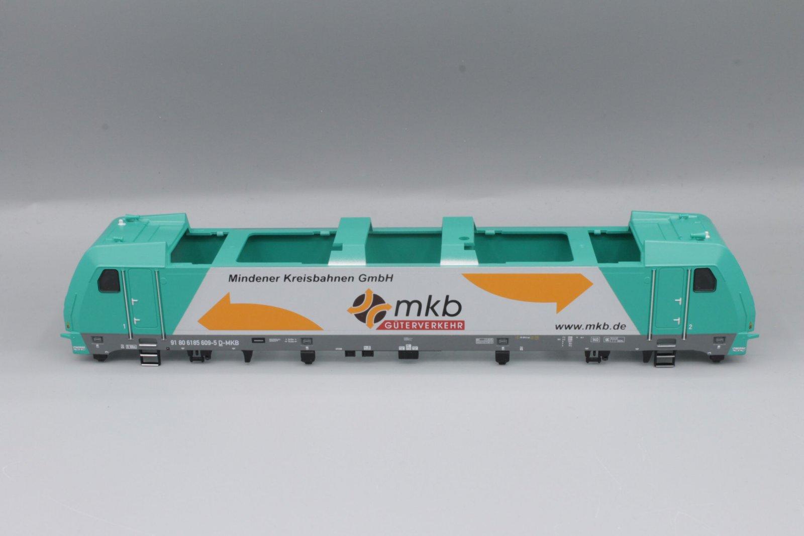 Ersatzteil Piko 185 609-5 Gehäuse mkb grün/silber mit Fenstern, Führerständen