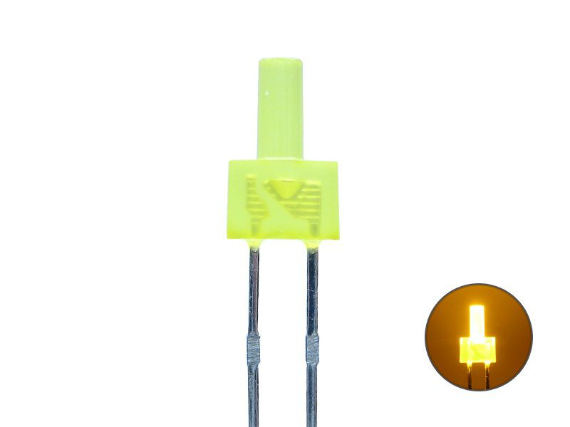 LED 2mm - Tower-LED - gelb 2,0 V - diffus - langer Kopf