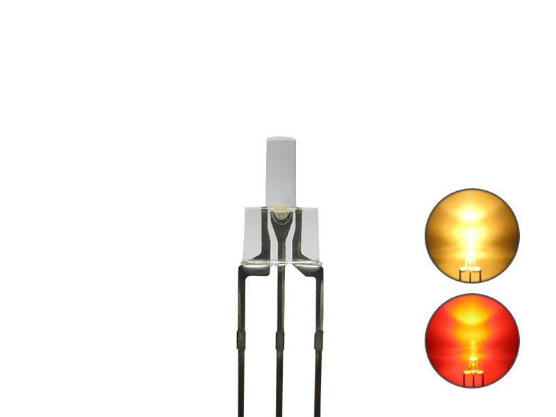 DUO Bi-Color LED 2mm lang klar 3pin Anode warmweiß / rot