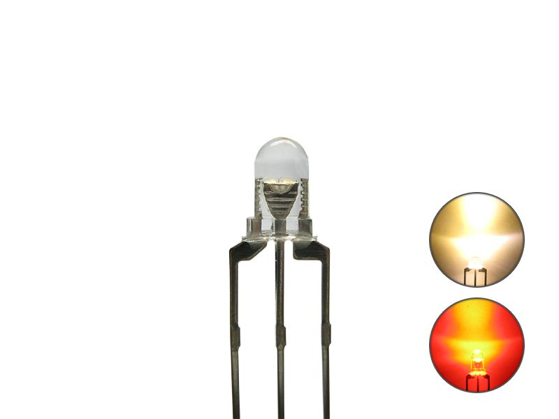 DUO Bi-Color LED 3mm klar 3pin Anode warmweiß / rot