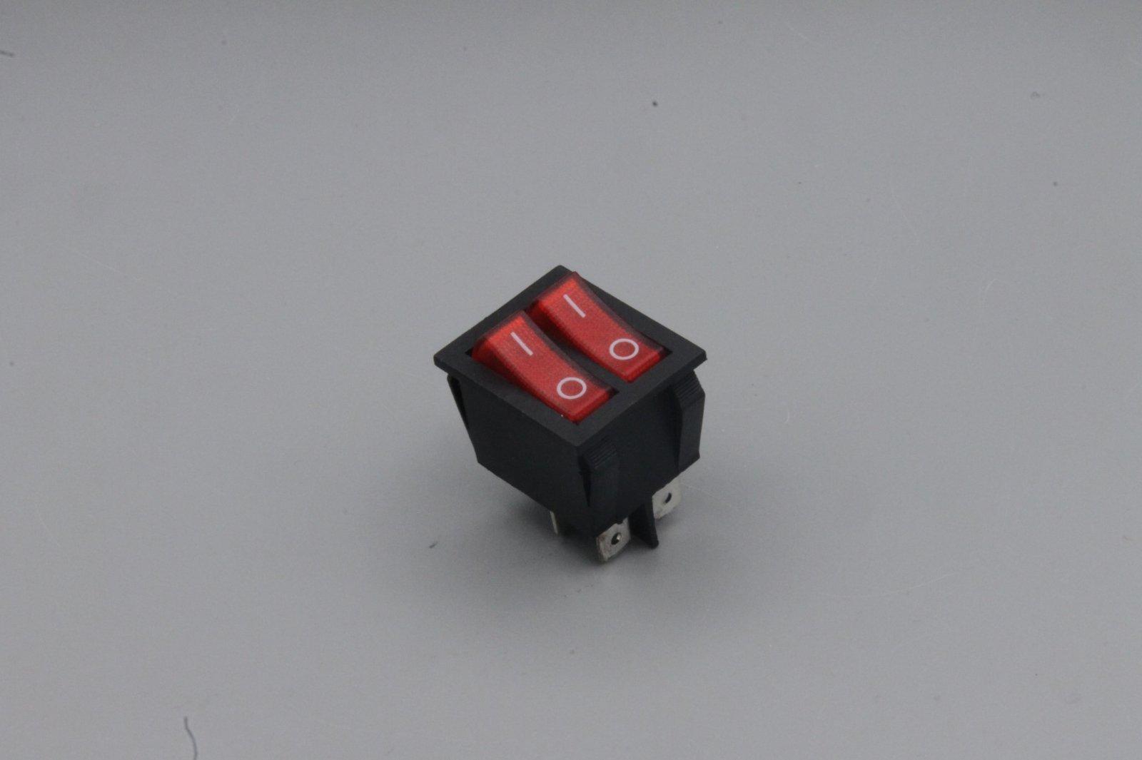 Wippenschalter 2-polig, rote Wippe 250V~ 15A  Stellungen Ein / Aus