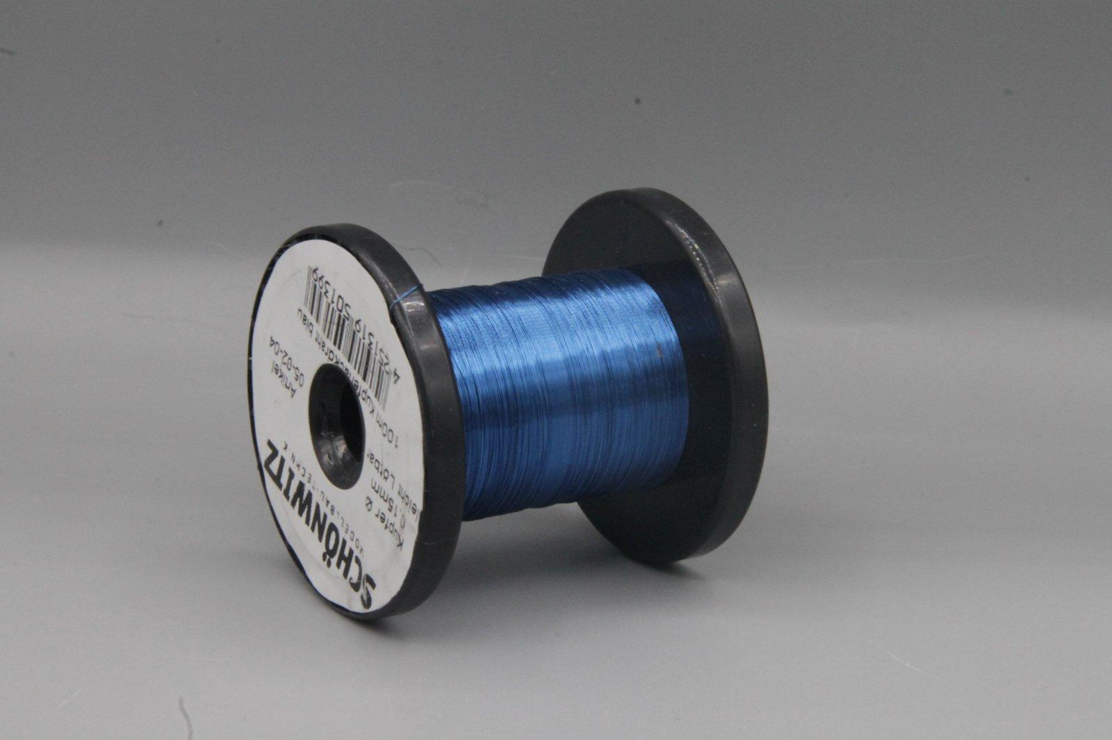 100 m Kupferlackdraht blau 0,15 mm Lackdraht Cu-Draht auf 50m-Spule