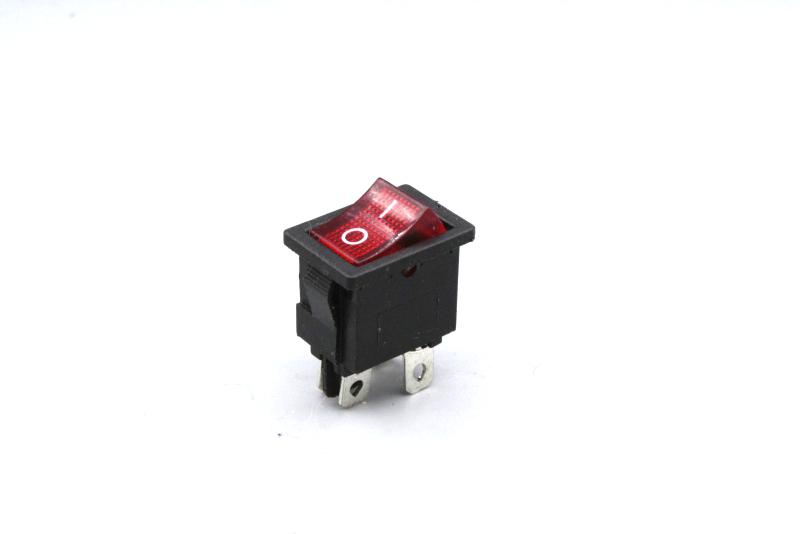Mini - Wippenschalter 2-polig, rote Wippe 250V~ 6,5 A  Stellungen Ein / Aus