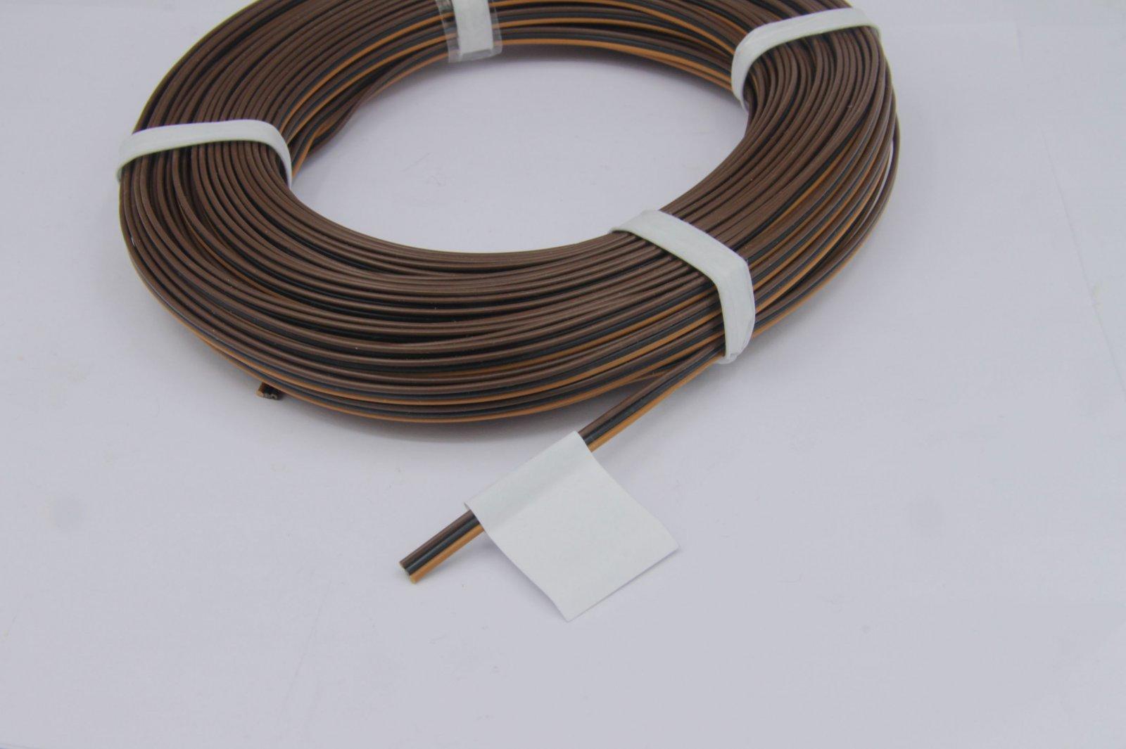 25m Drillingslitze 3 x 0,14mm² für Fleischmann braun/schwarz/braun
