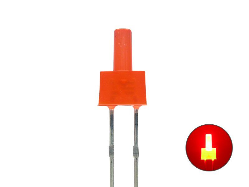 LED 2mm - Tower-LED - rot 2,1 V - diffus - langer Kopf