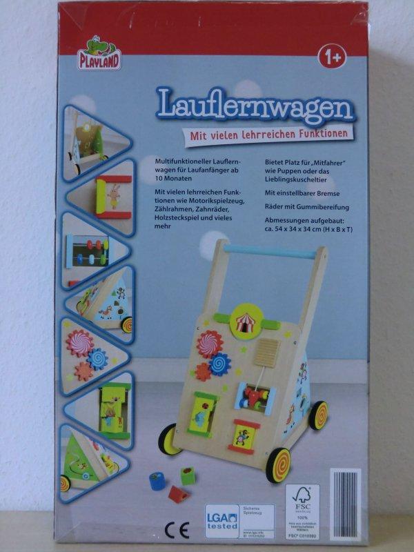playland lauflernwagen laufhilfe kinder baby laufwagen holz einstellbare bremse ebay. Black Bedroom Furniture Sets. Home Design Ideas