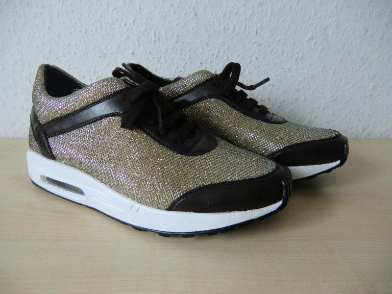 braun Schuhe The No Animal Brand Damen Schnürer gold Vegan-Shoes Weite G