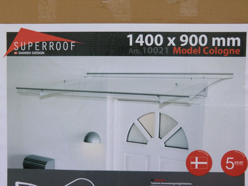 Superroof Edelstahl Vordach Cologne Baustoffe & Holz 1400 X 900 Mm Acrylglas Haustür Dach 10021