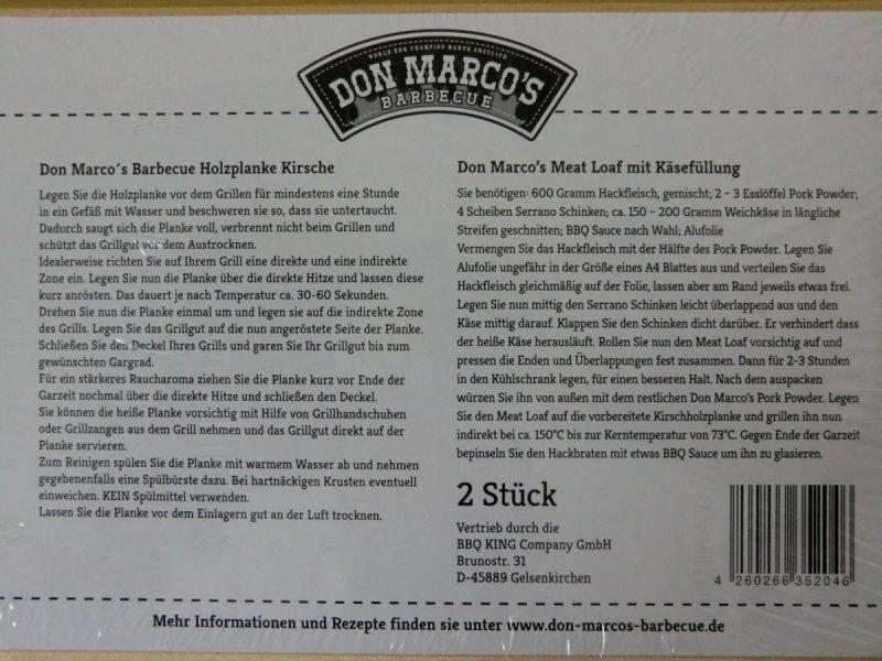2 x Don Marco´s BBQ Holzplanken Kirschholz 30 x 15 cm Grill Räucherbrett