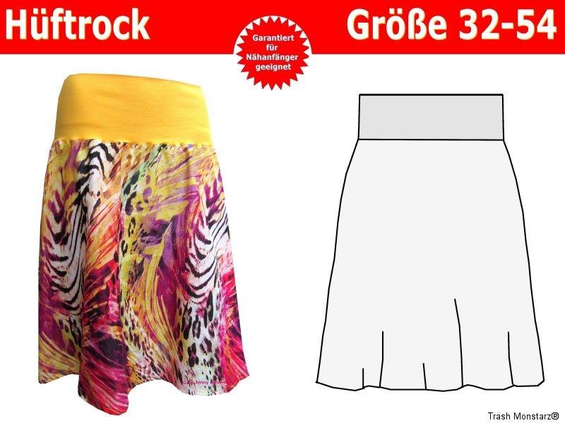Einfacher Damen Hüftrock mit Bündchen, Damenrock Schnittmuster ...
