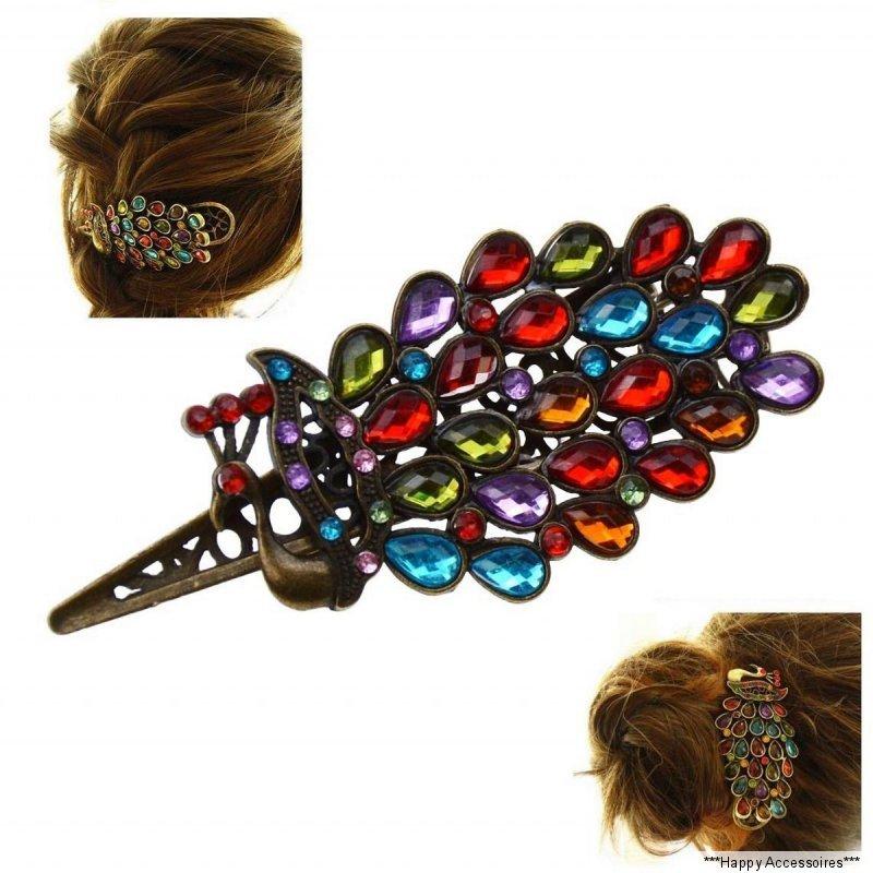 Kristall Hairpin Shinning Barrette Strass Kopfbedeckung Pfau Haarspange