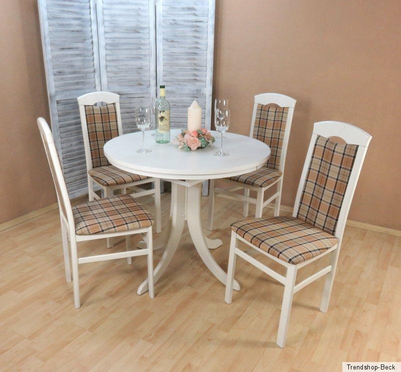 essgruppe 5 tlg auszugtisch rund st hle tisch esstisch. Black Bedroom Furniture Sets. Home Design Ideas