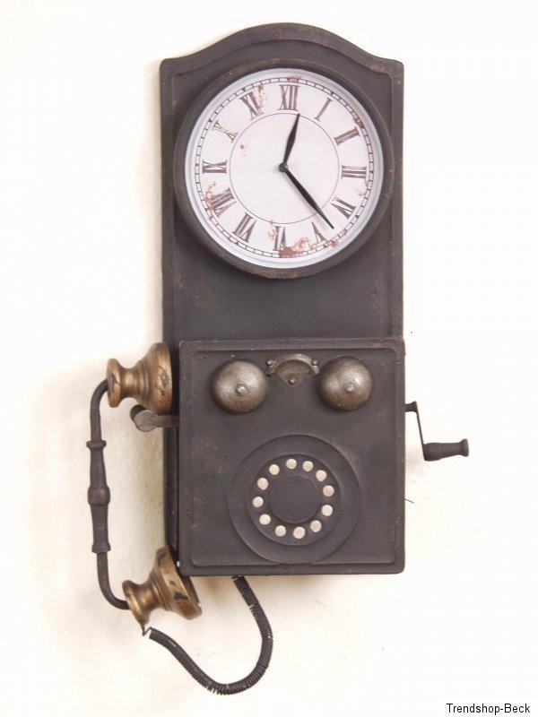 deko wanduhr mit telefon nostalgie look uhr wanddeko antik stil dekoration ebay. Black Bedroom Furniture Sets. Home Design Ideas