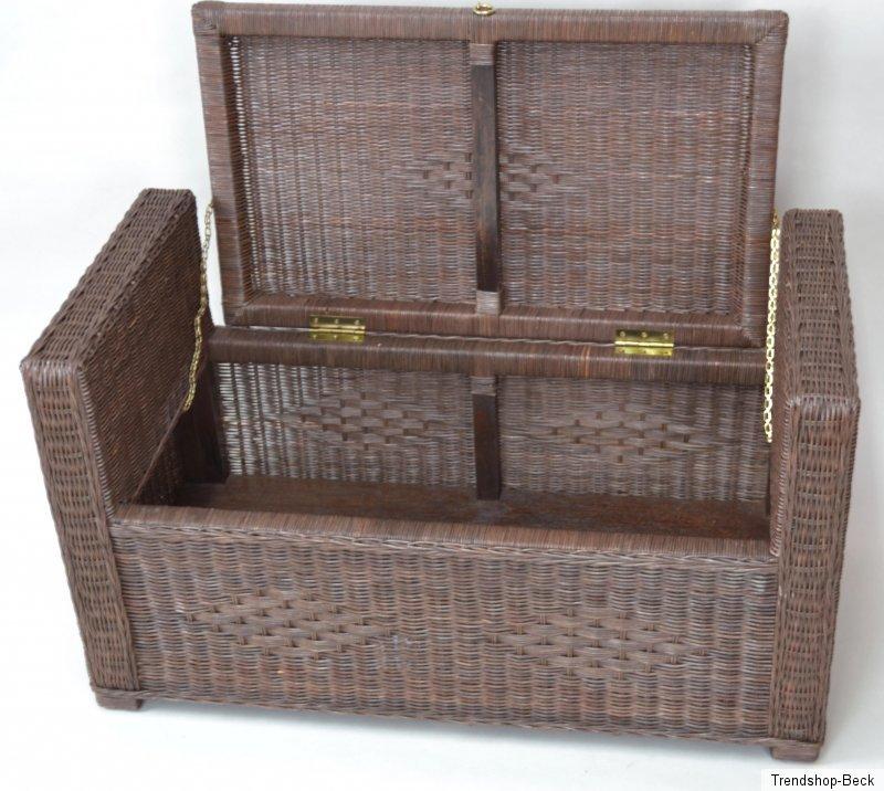 sitztruhe rattan sitzbank hocker bank truhe w schetruhe sitzhocker ebay. Black Bedroom Furniture Sets. Home Design Ideas